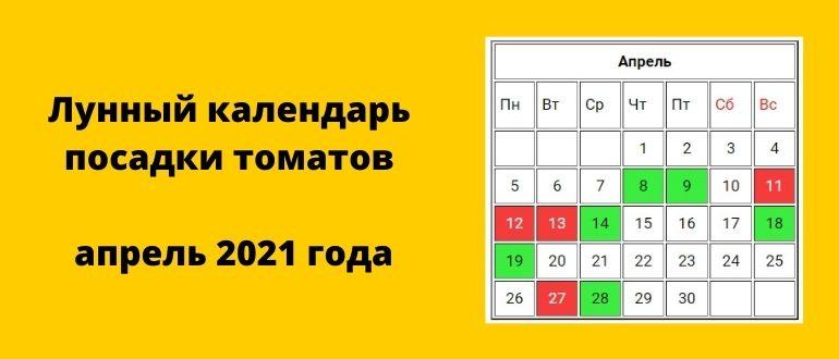 Благоприятные дни по лунному календарю для посадки рассады помидоров на апрель 2021 года - таблица