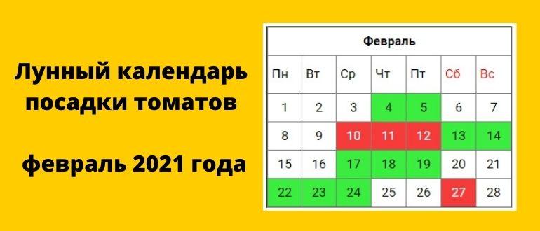Лунный календарь посадки томатов в феврале 2021 года (таблица)